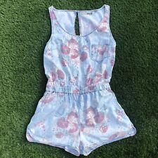 TOPSHOP Blue Floral Light Denim Shorts Playsuit Romper Summer Size 12