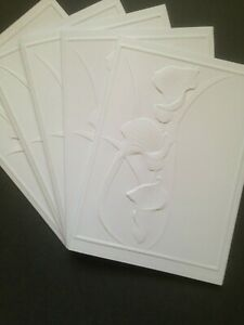 5 Blank A6 White Embossed Cards & Envelopes - Arum Flowers