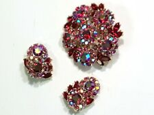 STUNNING Trifari RED AURORA Domed Brooch / Pin & Clip Earrings
