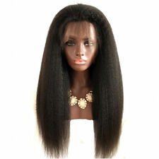 US Stock 1# Lace Front Wigs For Black Women Yaki Straight Long 24inch Afro Heat