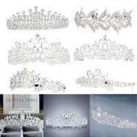 6 Style Wedding Bridal Princess Crystal Hair Tiara Crown Veil Headband w/ Comb