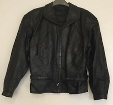 Ladies Vintage Maxime black leather biker style cropped jacket made in Italy 40