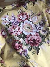 Vintage RALPH LAUREN Queen SOPHIE BROOKE Yellow Floral Fitted Sheet USA