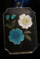 """Lovely Enamel Charm/Pendant inc 18"""" SS Chain Blue and White Flowers Gold Accents"""