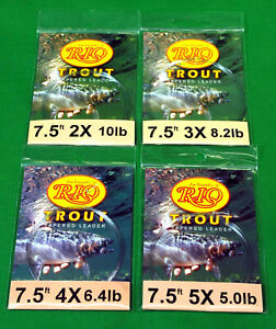 Rio  Trout   Tapered  Fly  Fishing  Leaders  4  –  New  Lot   with  Loop  7 ½