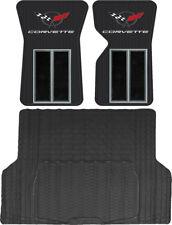 Black Custom Front Rubber Floor Mats & TRUNK Cargo Mat for 68-82 Chevy CORVETTE
