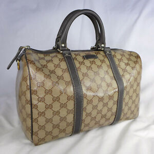 Authentic Gucci Crystal Brown GG Canvas Medium Boston Bowling Handbag Purse VGC