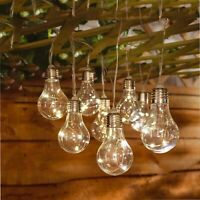 Solar Powered Retro Bulb String Lights For Garden Outdoor Fairy Summer Lamp