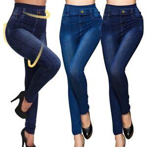 Women High Waist Imitation Denim Jean Leggings Slim Stretch Pencil Jegging Pants