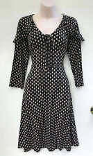 LEONA EDMISTON Stone Tear Drop Tie Neck Ruffle Dress 3/4 Sleeves sz 14 NWT