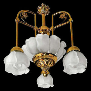 Gorgeous Art Deco Art Nouveau Gilt Brass Flower Chandelier with Art Glass Petals