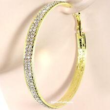 "2.7"" Two Row Micro Pave Set Crystal Rhinestone Cz Hoop Dangle Gold GP Earrings"