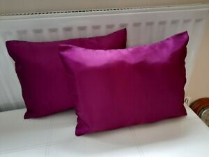 "2 New Boudoir Cushions  Purple Faux Silk 16""x12 "" Custom made."