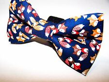NEW FABRIC DOG BOW TIE * Small Foxes Fox * Handmade USA * FREE SHIPPING Preppy
