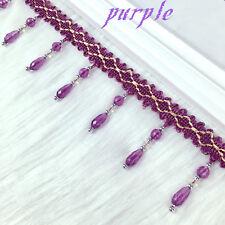 1yd Curtain Sewing Tassel Fringe Trim Tassel Crystal bead Lace Accessory purple