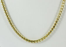 "52 gm 14K Solid Yellow Gold Round Diamond Cut Box Unisex Chain Necklace 22"" 4 mm"