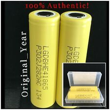 2 LG HE4 18650 2500mAh High Drain 35A Rechargeable Battery Flat Top Free Case