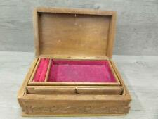 Vintage Wooden Carved Two Level Jewelry Box With Working Wood Latch Mechanism