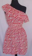 Womens One Shoulder Dress Large Orange Aztec Print Sundress Body Central