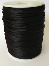 10m Black Chinese Knot Silk Macrame Beading Jewelry Rattail Cords Thread 2mm