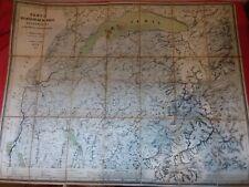 Ancienne carte toilée 1871/FRANCE/ RIVE DU LAC LEMAN GENÈVE /CHAMOUNI/