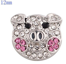 Clear Pink Rhinestone Pig 12mm Mini Snap Charm for Ginger Snaps Magnolia Vine