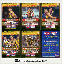 2001 Teamcoach Trading Cards Promotion Team Set Hawthorn (6)