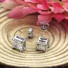 Hot Sale Fashion 9K Solid White Gold Filled Square Mens Stud Earrings