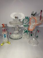 Blown Glass Figures Carousel Mailbox Clown Woman 2 Are Broken Lot Of 4