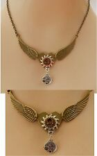 Gold Steampunk Heart, Wings & Gears Necklace Jewelry Handmade NEW Fashion