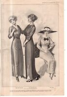 1912 Original Delineator Fashion Print - Spring Waists, Dresses and Skirts