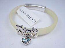Bracelet with Swarovski Crystals 0963 Nina Ricci Rhodium Plated White Silicone