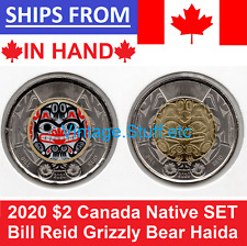 2020 BILL REID Native $2 Canada Coin Color No Colored Haida Grizzly Bear SET UNC