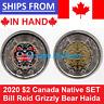 2020 BILL REID Native $2 Canada Coin Color No Colored Haida Grizzly Bear SET UNC