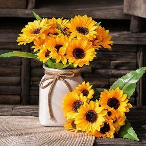 2X Lifelike 13-Heads Artificial Sunflower Silk Flower Bouquet Home Decoration US