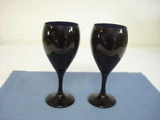 Two Libbey Black Amethyst 12 oz Wine Glasses Goblets Stemware