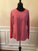 Columbia Womens Top Long Sleeve Red Gray Striped Cotton Stretch Medium