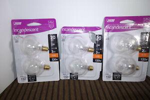 6 Feit 20 Watt 20W G12-1/2 Clear Incandescent E12 Candelabra Light Bulb G12.5