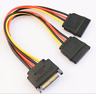 SATA Power 15pin Y-Splitter Cable Adapter Male to Female for PC HDD Hard Driv WF