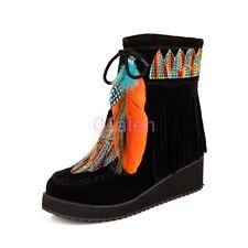 Women Warm Ankle Boot Casual Tassel Suede Fringe Hot Ethnic Floral Shoes Plus SZ