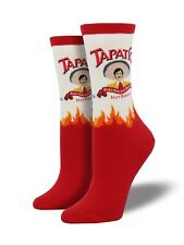 "Socksmith Women's Socks Novelty Crew Cut Socks ""Tapatio"" Hot Sauce / White"