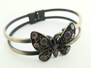 Vintage hinged butterfly bangle. Bracelet. Purple rhinestone