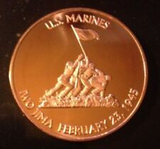 1 OZ COPPER ROUND U.S. MARINES IWO JIMA FEBRUARY 23, 1945