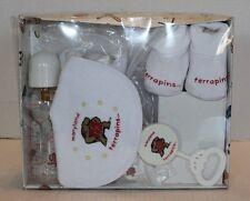 Nib Maryland Terrapins 6 Piece Baby Gift Set In Box #102393 Bottle Rattle Paci.