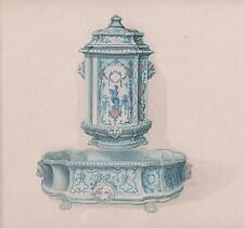 MAIOLICA CERAMIC FOUNTAIN STUDY Victorian Watercolour Painting c1890