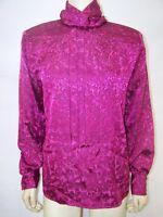 Neil Martin Purple Pleated Long Sleeve Mock Neck Top Womens Size 8 Medium