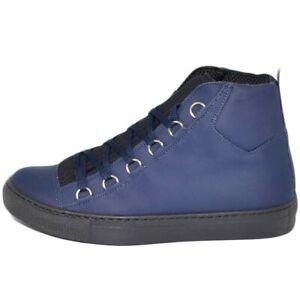 Sneakers alta blu in vera pelle gommata blu impermeabile e ganci con laccio tess
