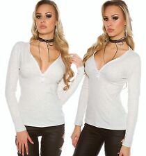 Maglia V Strass Zip a maniche lunghe top camicetta jumper felpa pullover (H) .