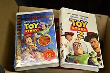 Disney Pixar Toy Story 1 Gold SEALED VHS Clamshell + Toy Story 2 [open]