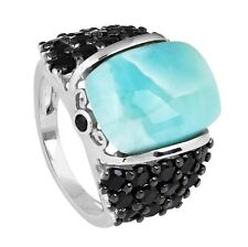Natural Larimar 16x12MM and Black Spinel Women's Ring 925 Sterling Silver US-7